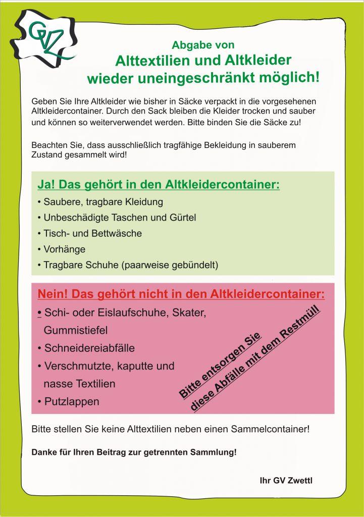Bauhof – Altkleiderentsorgung
