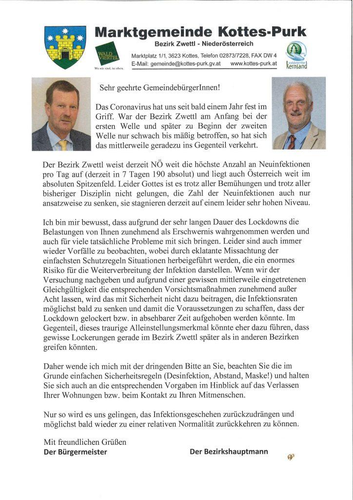 Aktuelle Information des Bürgermeisters