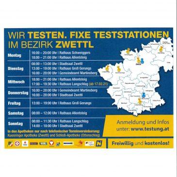 Kostenlose Teststraßen – Bezirk Zwettl