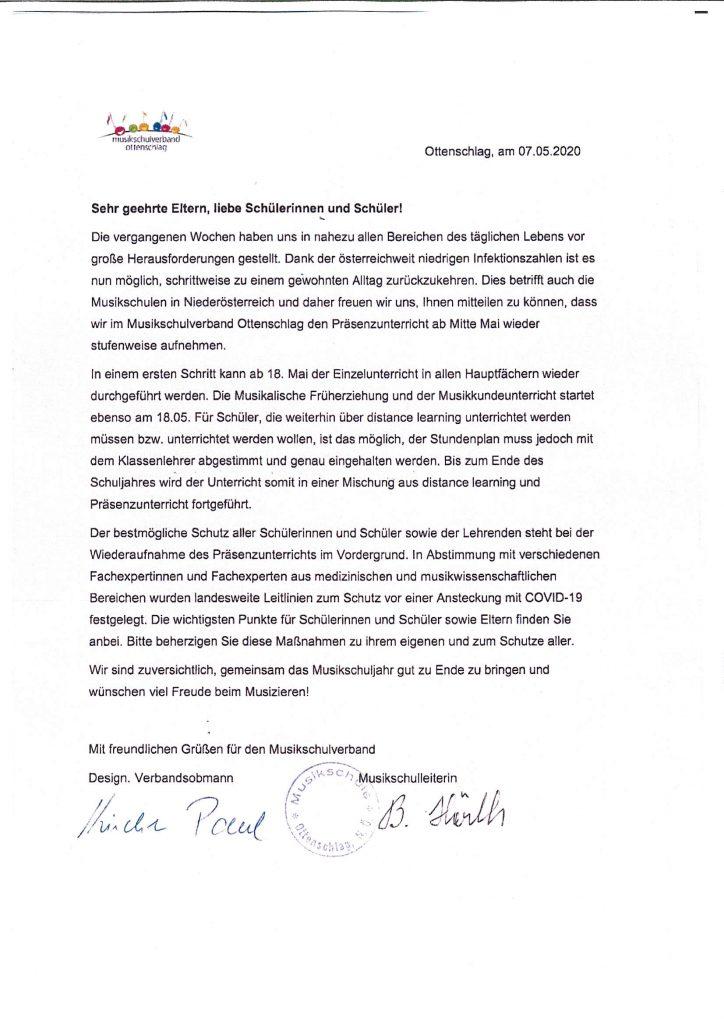 Musikschulverband Ottenschlag – Wiederaufnahme Präsenzunterricht