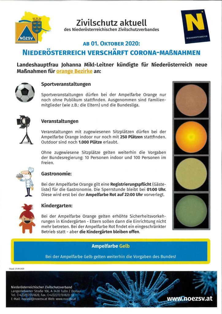 Niederösterreich verschärft die Corona-Maßnahmen