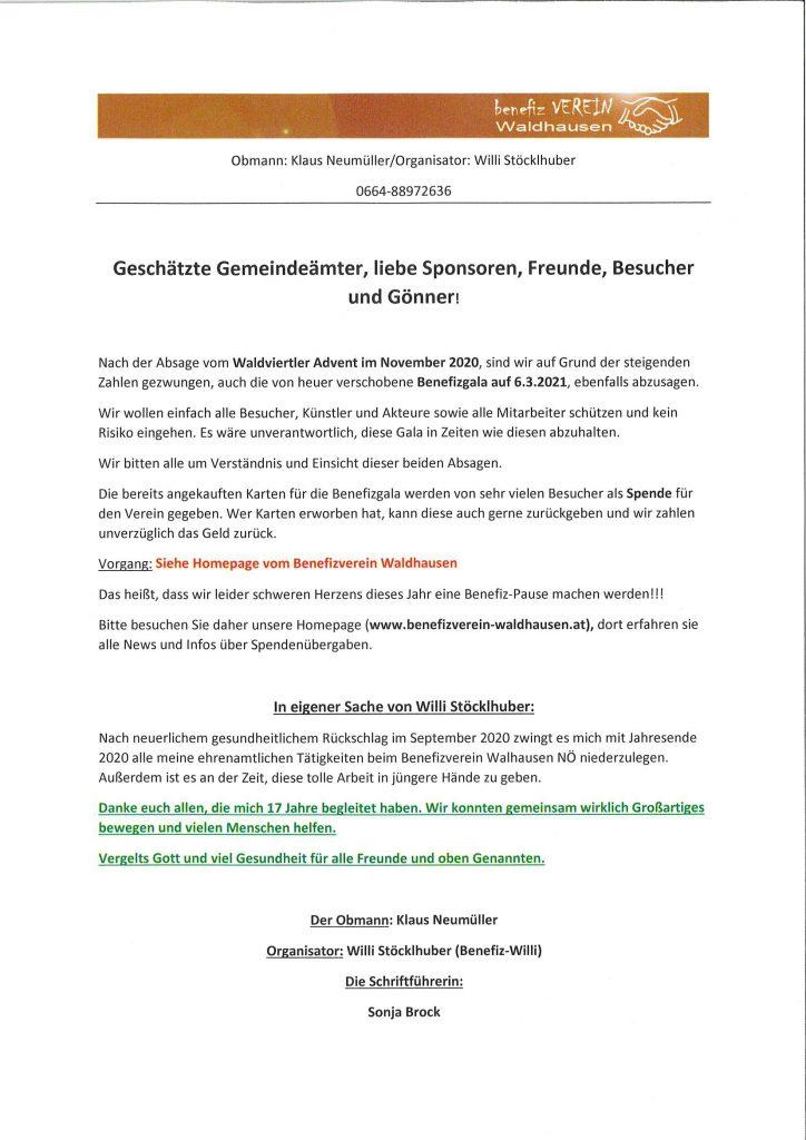 Benefiz Verein Waldhausen informiert