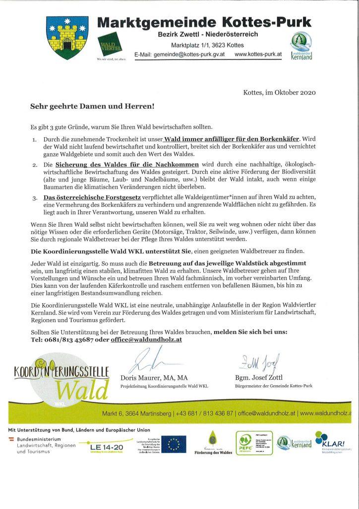 Hilfe für Waldbesitzer durch die Koordinierungsstelle Wald