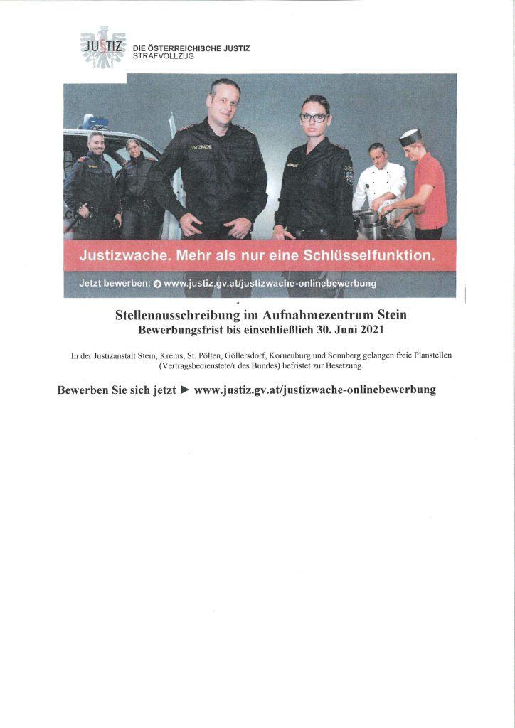 Stellenausschreibung Justizwach – Bewerbungsfrist 30. Juni 2021