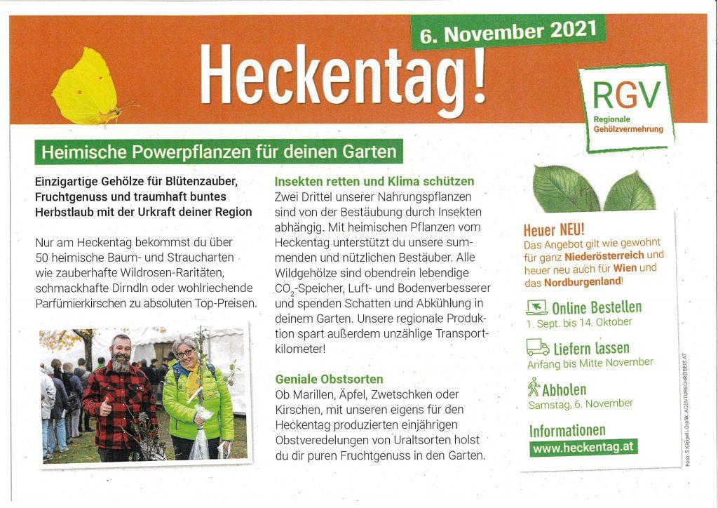 6. November 2021 – Heckentag
