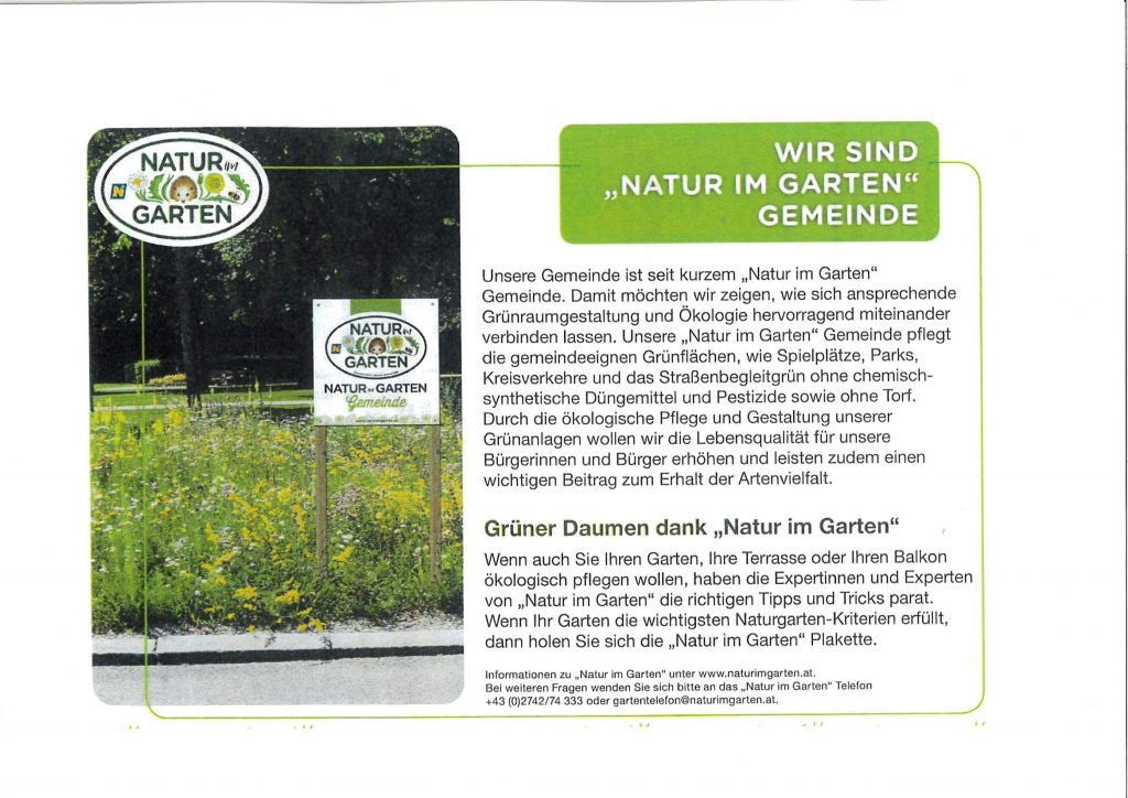 """Wir sind """"Natur im Garten"""" Gemeinde"""